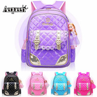 AEQUEEN Pink Princess School Bags For Girls With Doll Cute Orthopedic Children Backpack Kids Primary Students Book Bags Mochila
