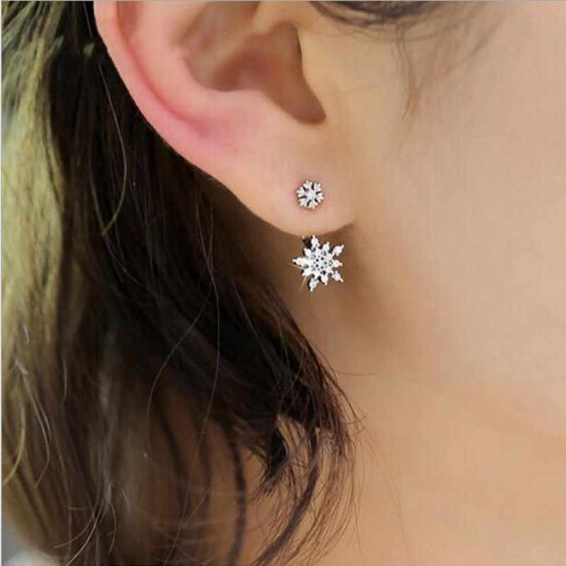 New 925 Sterling Silver Jewelry Fashion Small Fresh Bright Temperament Snowflakes Long Micro-set Crystal Female Earrings  SE158
