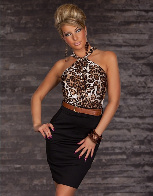 3b1e48a2c86 Dower Me Sexy Women Clubwear Dresses Neck Halter Leopard Casual Dress With  Belt Neck Bodycon Strapless