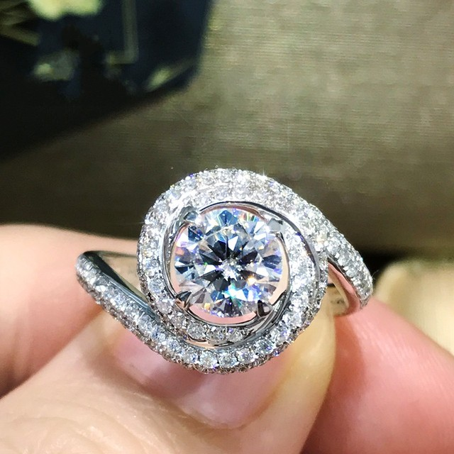Unique Across ring 925 Sterling silver AAAAA Cubic Zirconia Engagement wedding band Rings for women Bridal Fashion Jewelry Gift