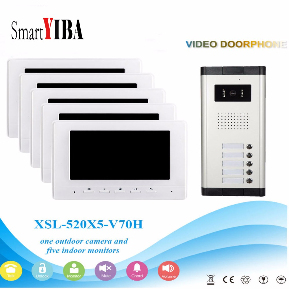 SmartYIBA 7''Inch Wired Color Video Door Phone Video Doorbell Intercom System Kit Set 5 Monitors+1 IR Camera With 5 Buttons