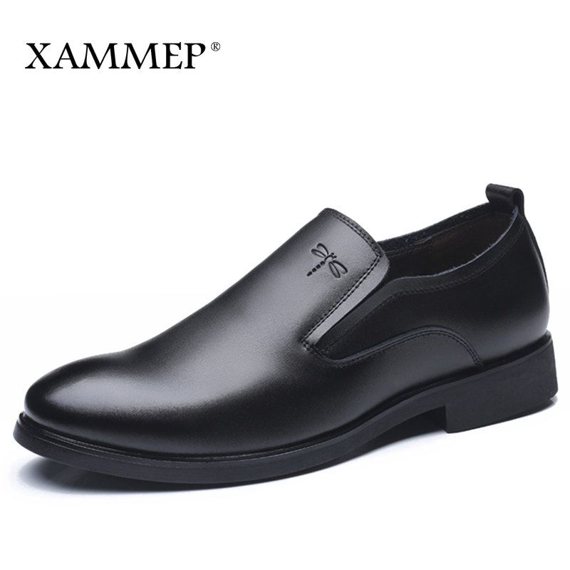 Genuine Leather Men Dress Shoes Brand Men Formal Shoes Men Shoes Plus Big Size 46 47 Classic Business Gentleman Slip On Xammep цена