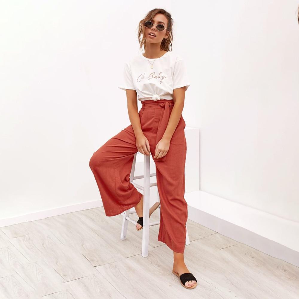 Casual Cotton Linen High Waist Wide Leg Pants 26