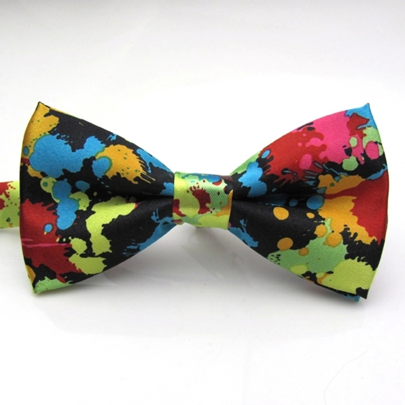 Free Shipping Men Ink Printed Colorful Fashion Bowtie Cravat Printing Adjustable Butterfly Bow ties Gravata Pattern Bowknot