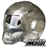 MASEI 610 IRONMAN Helmet Electroplating Iron Silver Motorcycle Helmet Casque Motocoross Half Helmet Personality Open Face