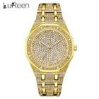 Lureen Gold Watch For Men Luxury Full Diamond Mens Watches Iced Out Male Quartz Watche Waterproof Wristwatch Clock Gift W0017