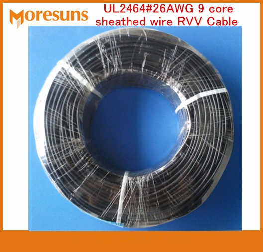 Fast Free Ship By DHL/EMS 200m/roll UL2464#26AWG 9 Core Sheathed Wire RVV Cable Signal Wire/7/0.14 Tin Plated Copper Wire