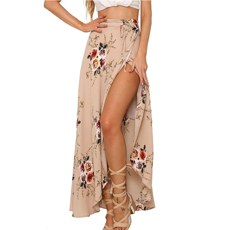 Women Summer  Hight Waist High Split Printed   Maxi Skirt Pleated  Chiffon Long Casual Boho