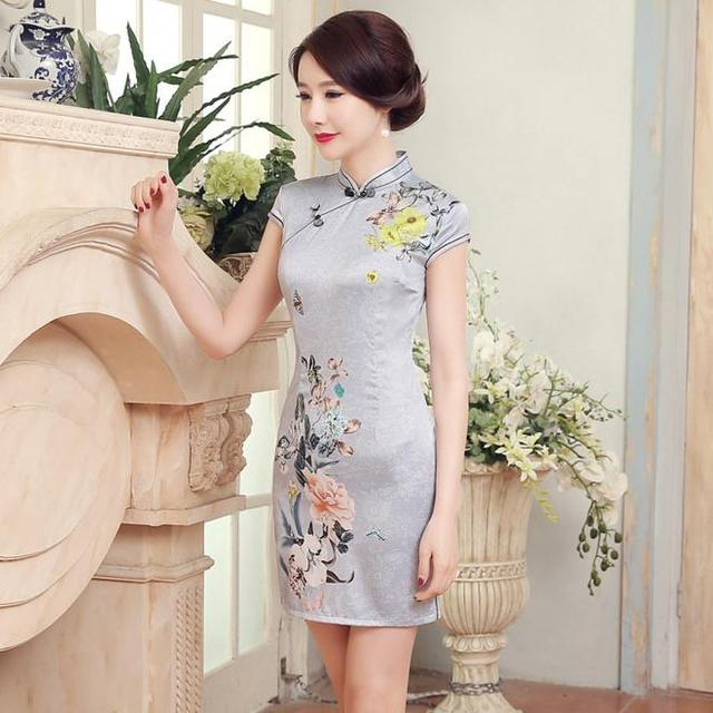 Summer New Chinese Ladies' Classic Satin Qipao Cheongsam Women's Sexy Short Dress Floral vestido de festa S M L XL XXL LGD18