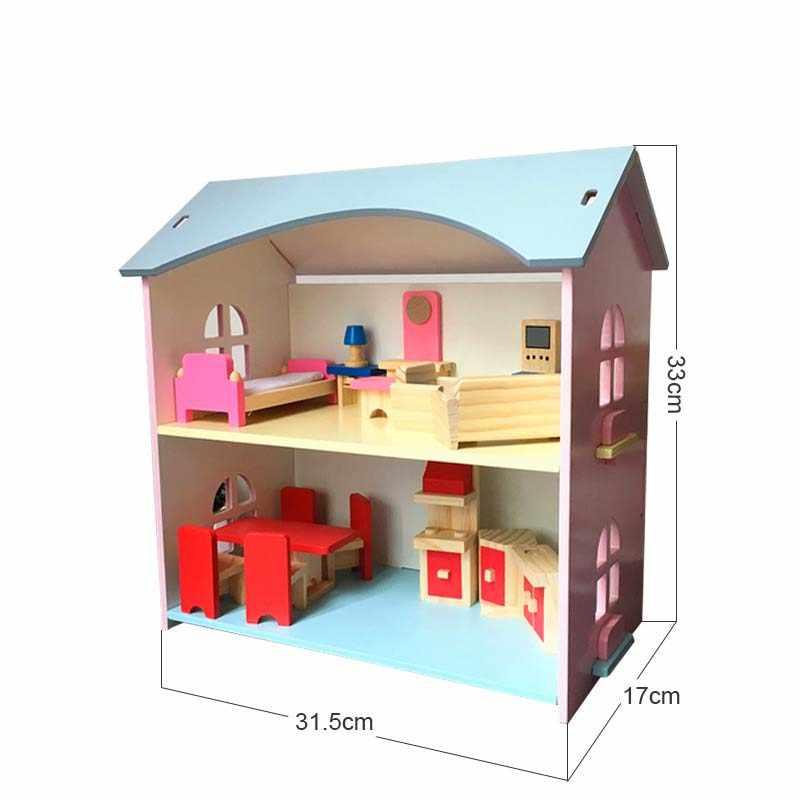 Pretend Play Furniture Toys Wooden Dollhouse Furniture Miniature Toy Set Doll House Toys for Children Kids Toy Big Dollhouse