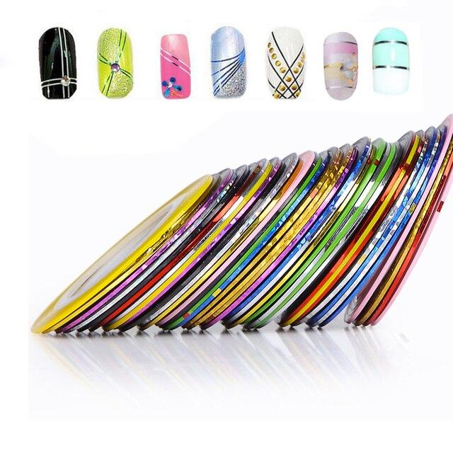32 шт. 32 Разноцветные Разноцветные Rolls Чередование Ленты Линия Nail Art Украшения Наклейки DIY Советы Ногтей