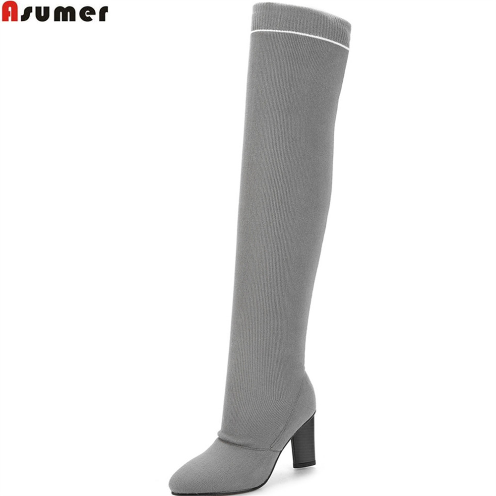 ASUMER fashion autumn winter women boots pointed toe comfortable Knitting wool ladies boots black gray over the knee boots wuhaobo the new arrival of the cashmere knitting wool ladies hat winter warm fashion cap silver flower diamond women caps