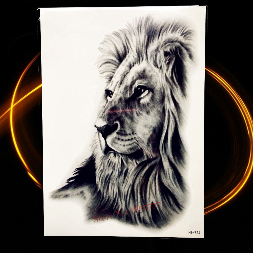 Africa, Lion Temporary Tattoo, Indian Tribal, Warrior 1