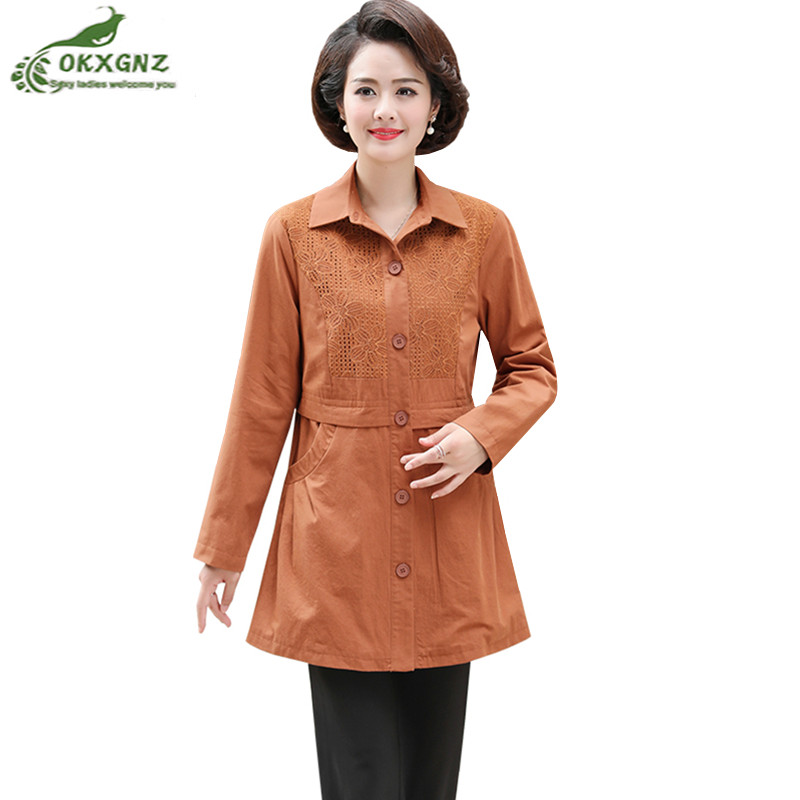Mother Autumn Windbreaker Coat Female Loose Middle-aged 2019 Women's Spring Coat Single-breasted Casual   Trench   Coat Plus Size4XL