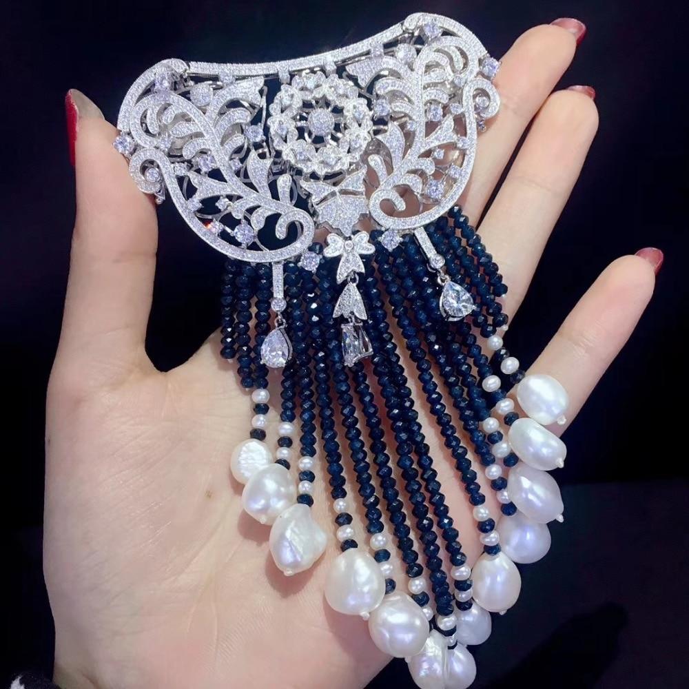 Hyperbole Victoria eau douce naturelle perle broche et bijoux serrure double usage longues glands couleur bleu foncé 925 argent