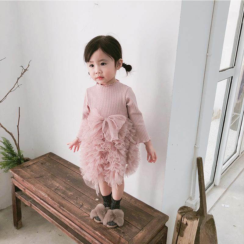 2019 Cotton Long Sleeve Knitted Kids Dresses For Girls Toddler Clothing Baby Girl Drees Tulle Patchwork Grey Pink White Spring 10