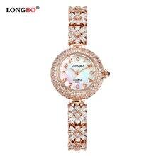 LONGBO Brand 2016 New Luxury font b Women b font Watch Full Steel Rhinestone Watch 30M