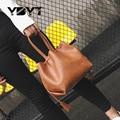 YBYT марка 2017 новая мода женщины ИСКУССТВЕННАЯ кожа сумки повседневные бочкообразная сумка женский малый ведро мешок женские сумки