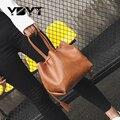 Ybyt marca 2017 novas mulheres da moda pu de couro sacos de compras casuais em forma de barril bolsa pequena fêmea balde saco bolsas das senhoras