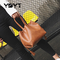 Ybyt marca 2017 nuevas mujeres de la pu de cuero bolsas de la compra bolsa en forma de barril ocasional femenina cubo pequeño bolso bolsos de las señoras