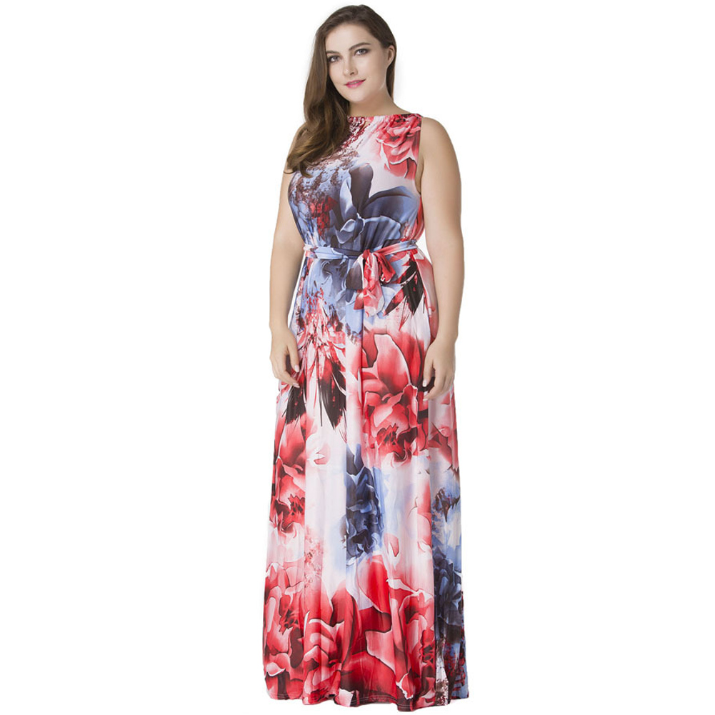 US $22.02 42% OFF 2019 Fashion Women Oversized Dress Boho Floral Print Maxi  Dress Halter Neck Sleeveless Summer Plus Size Swing Dress Red Sundress-in  ...