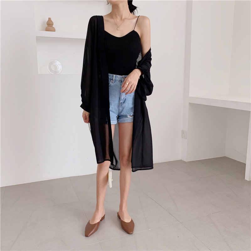 HziriP 2019 летний элегантный женский Повседневный свободный солнцезащитный модный однотонный тонкий кардиган с рукавами Топы ретро рубашки средней длины