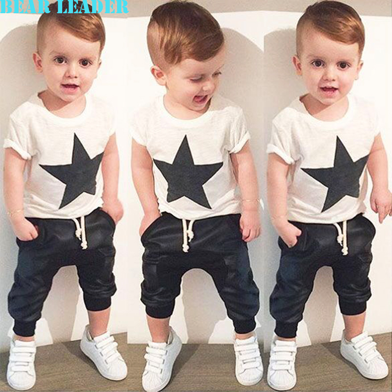 Bear Leader Baby Clothing Sets Summer Style Baby Girls Boys Clothes Black Letter T-shirt+Imitation cowboy pants 2pcs suit