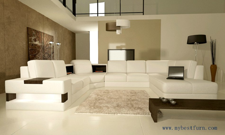 Free Shipping European Design, U shaped genuine leather sofa set, modern best living room furniture S8630 european laest designer sofa large size u shaped white leather sofa with led light coffee table living room furniture sofa
