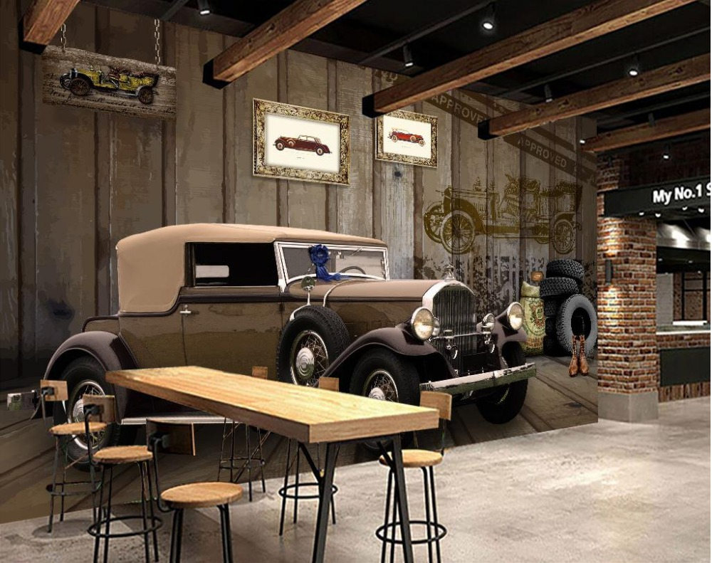 Bathroom 3d wallpaper 3d customized wallpaper vintage cars for Wallpaper home vintage