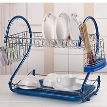 Urijk S-Shaped Dish Rack Set 2-Tier Chrome Drain Bowl Rack Storage Rack Stainless Steel Plate Dish Cutlery Cup Rack With Tray