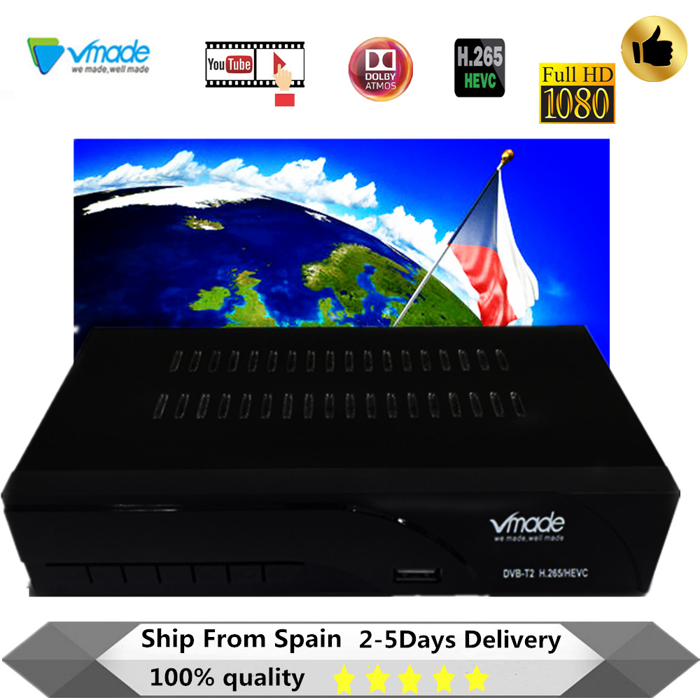Vmade Newest DVB-T2 Digital Receiver H.265/HEVC DVB T2 Hot Sale Europe DVB-T H265 Hevc Support Dobly AC3 USB WIFI With RJ45