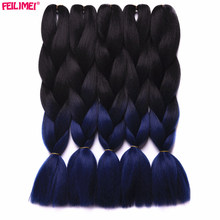 Feilimei Ombre Blue Jumbo Braiding Hair Extensions Two Toned Synthetic Kanekalon Hair 100g/pc Purple/Gray Crochet Braids Hair
