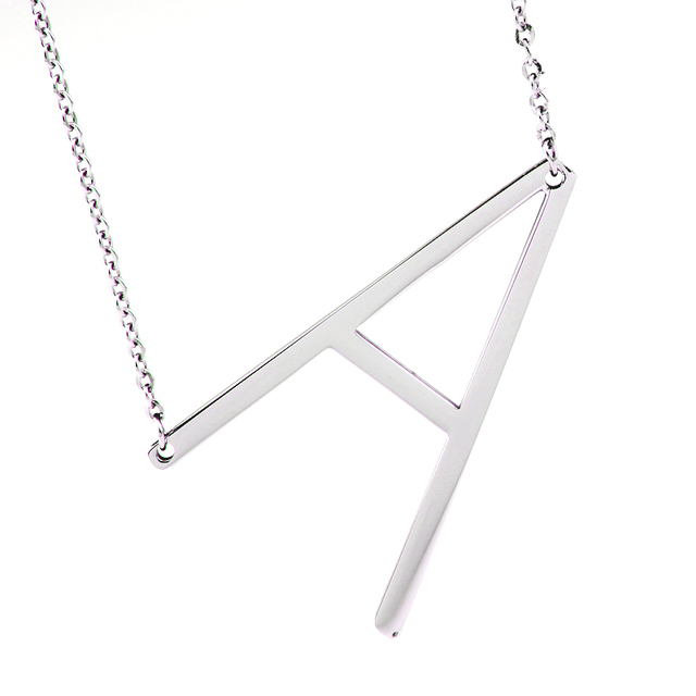 fashion necklaces for women 2016 big 26 letter necklaces pendant stainless steel body chain collier femme