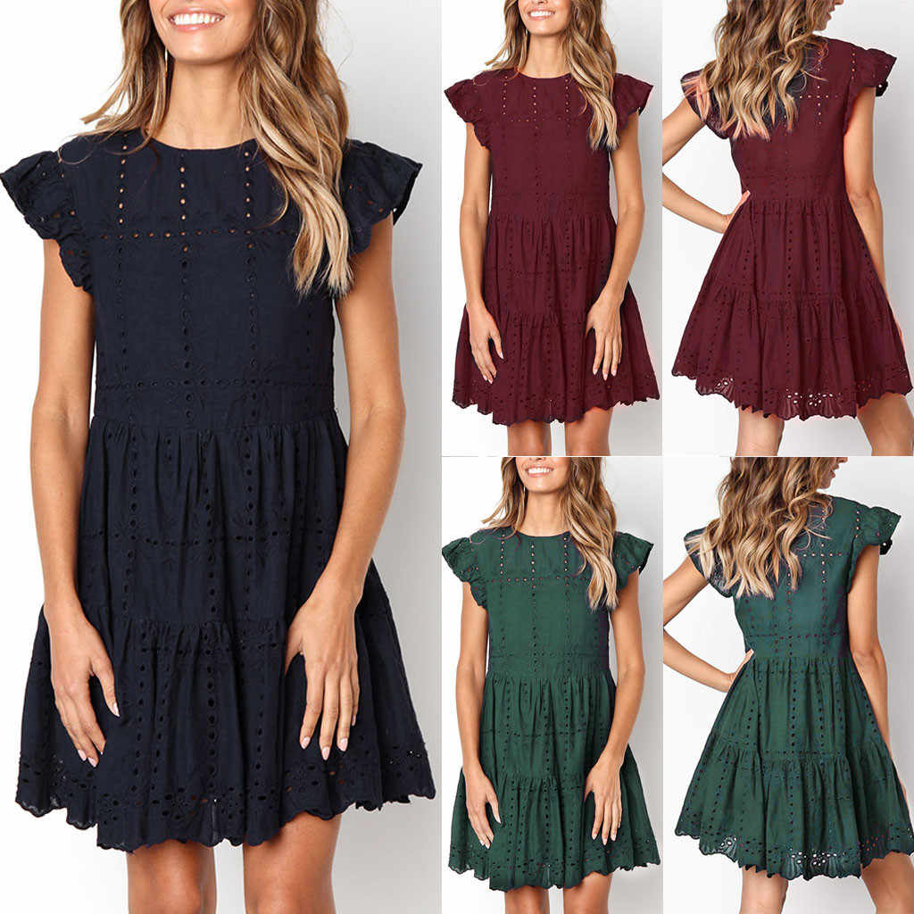2019 Summer Fashion Women Casual Ruffles Sleeve Ladies O-Neck Hollow Out Ruched A-Line Dress Polyester quality material new 507
