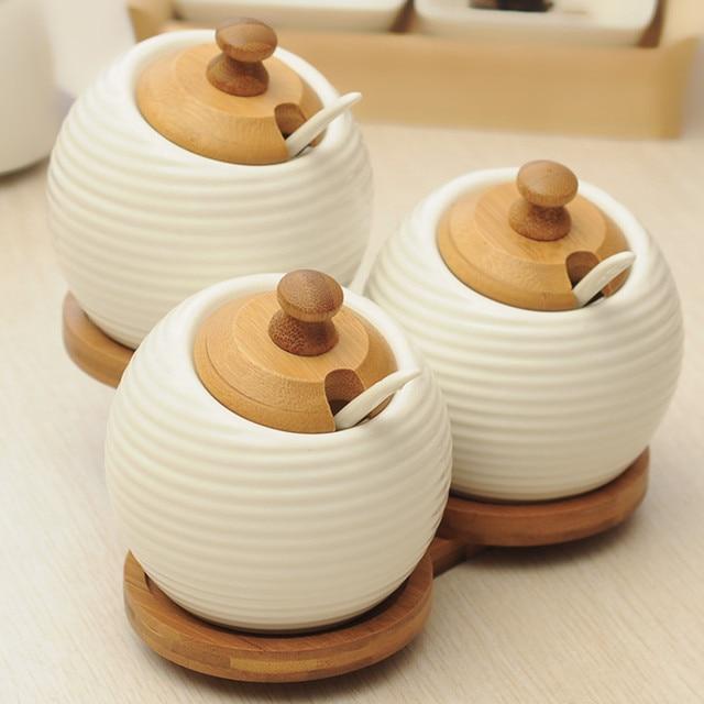 3 set combination Ceramic seasoning cans Storage jar kitchen Storage Tank Sugar bowl Saltcellar High quality & 3 set combination Ceramic seasoning cans Storage jar kitchen Storage ...