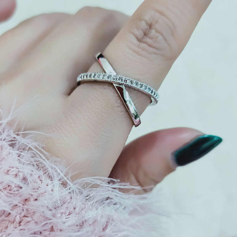 SINLEERY Fashion Silver Color X Shape Cross Open Ring For Women Adjustable Size Micro Paved Zirconia Jewelry Anel  Jz476 SSH