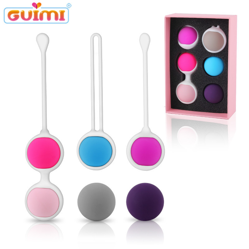 GUIMI 6Pcs Kegel Balls Vagina Tighten Vibroegg Silicone Geisha Balls Pelvic Floor Muscle Exercise Kegel Trainer Vaginal Dumbbell