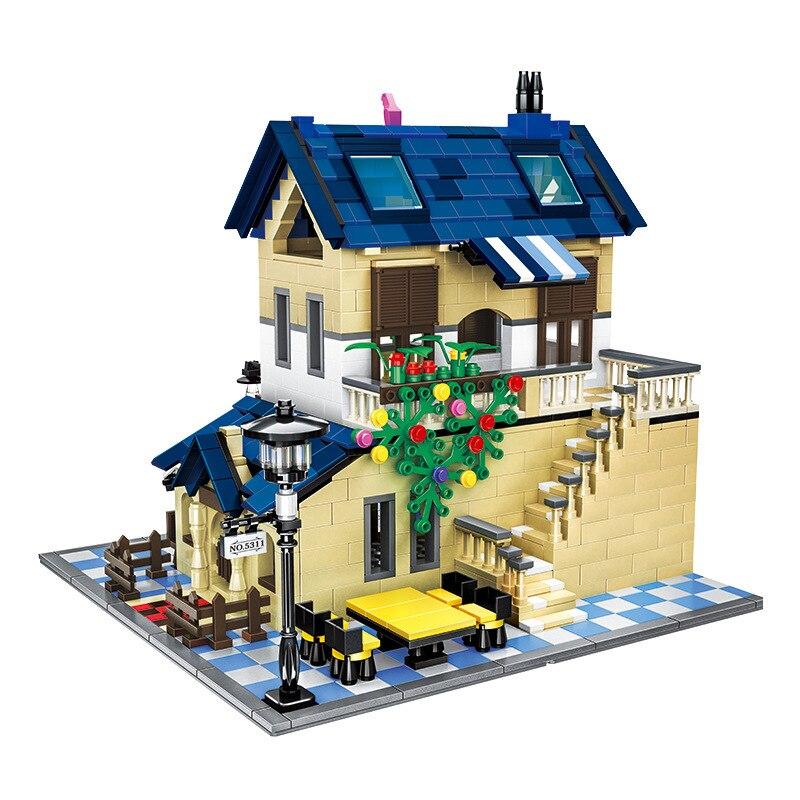 1298 PCS Clássico Arquitetura Série Rural Modelo Villa Casa Conjunto de Blocos de Construção Brinquedos Educativos para crianças Kid Presente