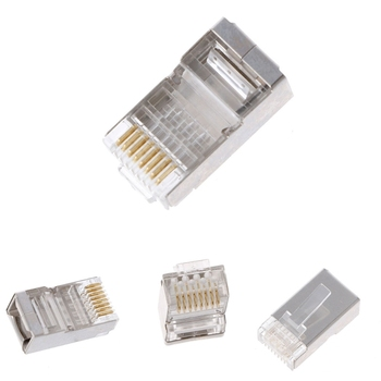 100Pcs 8-Pin Crimping Tool RJ45 8P8C Shielded Stranded Crimp Cat6 Cable Modular Plug Connector Socket Network Kit