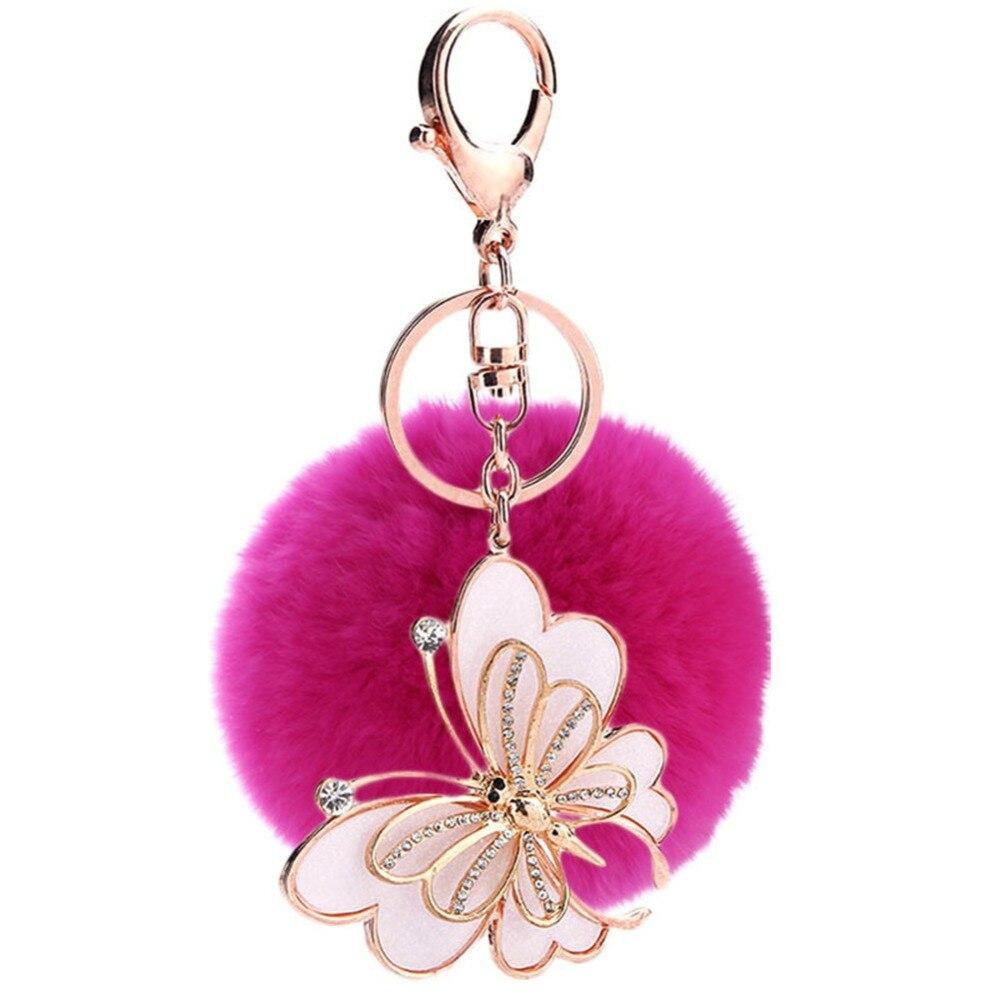 Apprehensive Fur Pom Pom Keychain Fashion Butterfly Car Key Chain Fluffy Key Ring Fur Car Decoration Handbag Car Rex Rabbit Fur Keyring To Make One Feel At Ease And Energetic