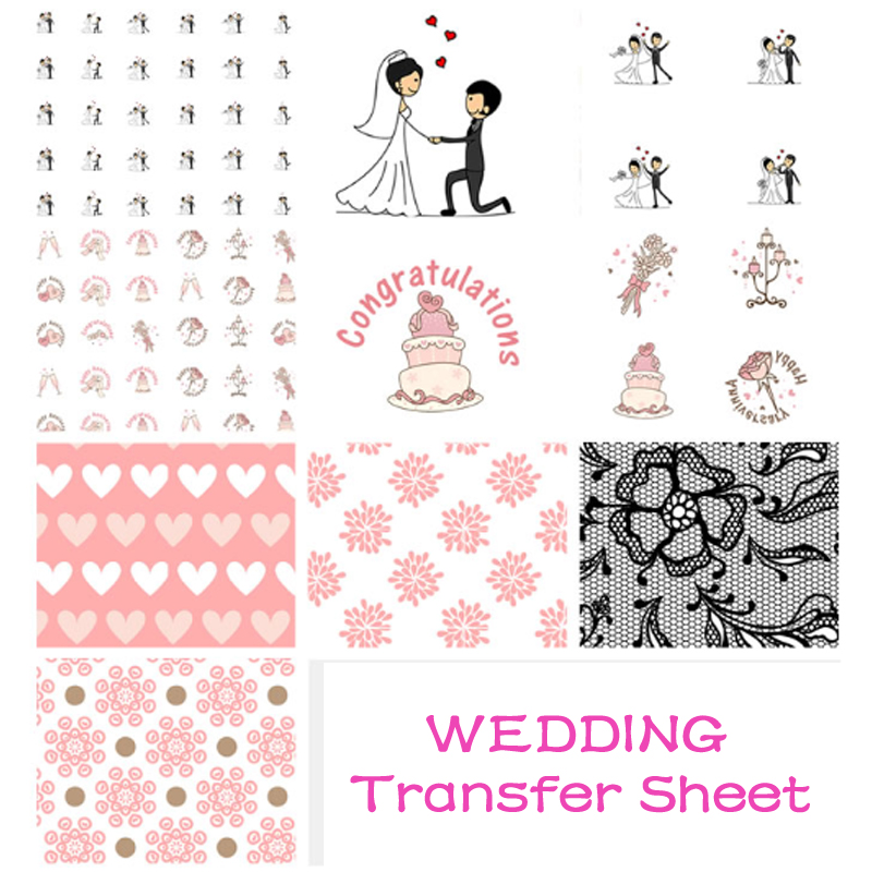 Bride And Groom Image Sugar Stamp Chocolate Transfer Sheet, Wedding Party Chocolate Cake Decoration Tools,Kitchen Baking Tools