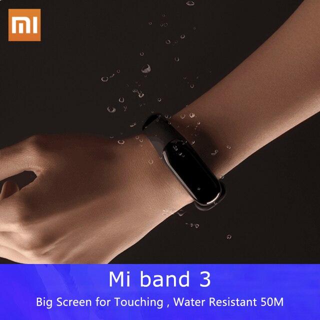 שיאו mi המקורי mi Band 3 כושר גשש עמיד למים צגי קצב לב OLED תצוגת משטח מגע חכם צמיד עבור אנדרואיד IOS