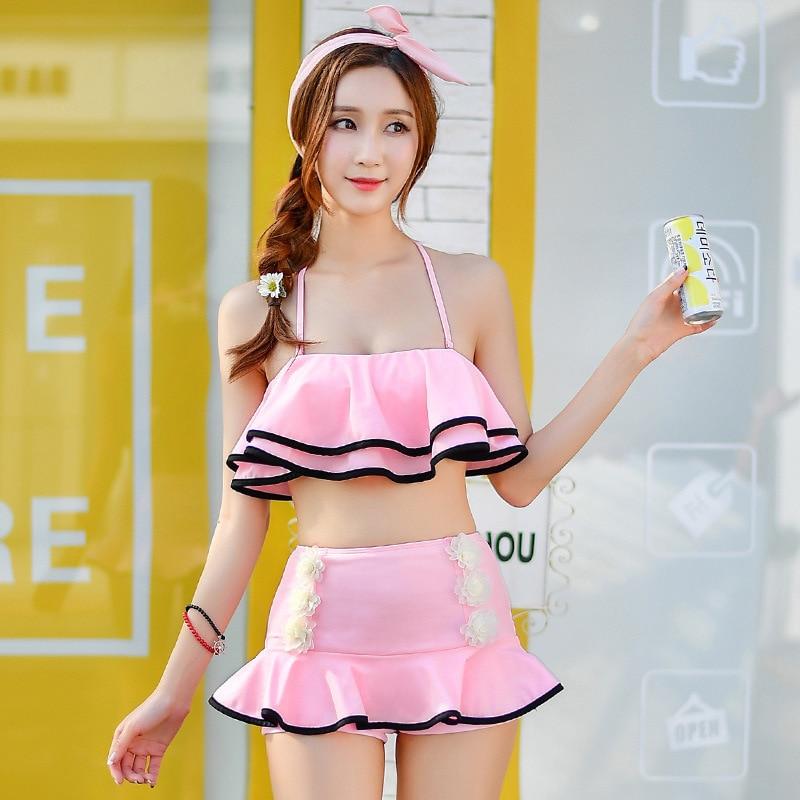 Swimsuit For Teenagers Plavky Beach Swimwear Women Swimsuits Bikinis Women's Two-Piece Tankini Plus Size Split Edge Handmade