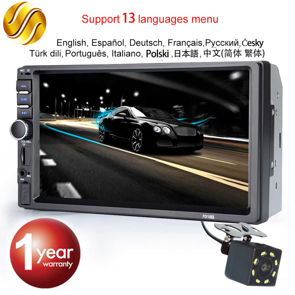 "Hippcron Car Radio HD 7 ""Pantalla táctil estéreo 2 Din Bluetooth FM ISO Power SD entrada auxiliar USB reproductor Mp5 No o con cámara"