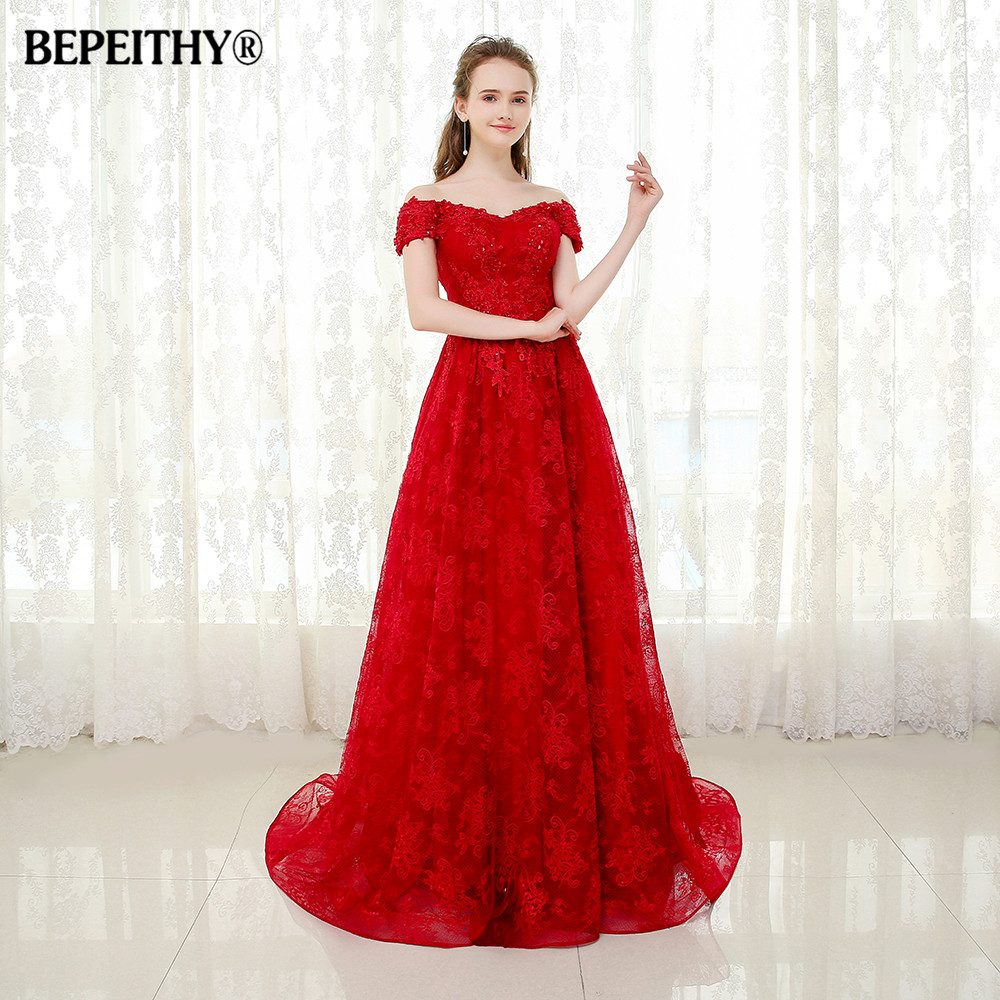 BEPEITHY Off The Shoulder Short Sleeves Lace Evening Dress Party Elegant  Vestido Longo Sweep Train Sexy 03fed2fa06be