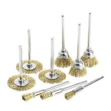 9 escova de bronze escova fio roda escovas morrer moedor ferramenta elétrica rotativa para gravador
