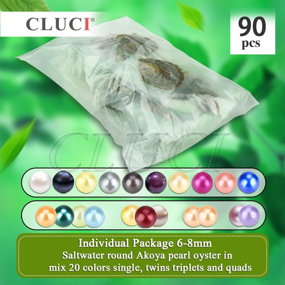 CLUCI 90 pcs 6-8mm de Mélange 20 Couleurs Naturel Ronde Akoya Perles Perle dans Oyster Bijoux Emballés Sous Vide huîtres avec Perles