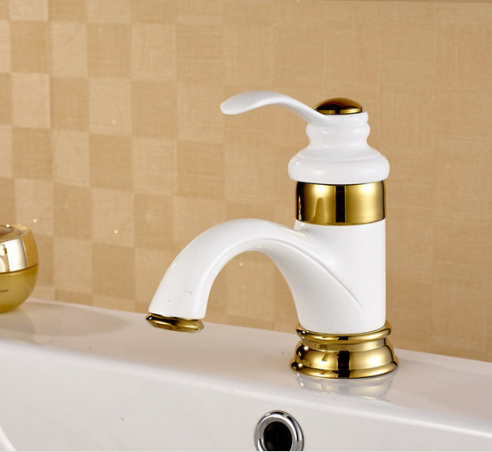 Free shipping Baked white paint basin sink faucet with top quality oil bronze brass bathroom basin sink mixer tapFree shipping Baked white paint basin sink faucet with top quality oil bronze brass bathroom basin sink mixer tap