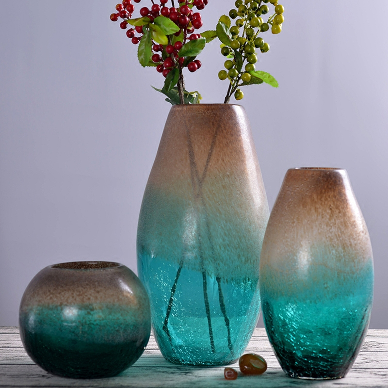 Creative Glass Vase Art Decoration Simple Floral Jewelry Transparent American Bottled Green Fried Grain Floral Arrangement vase