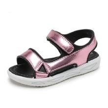 COZULMA Girls Summer Style Bright Golden Silver Beach Sandals Shoes Kids Boys Hook & Loop Size 26-35